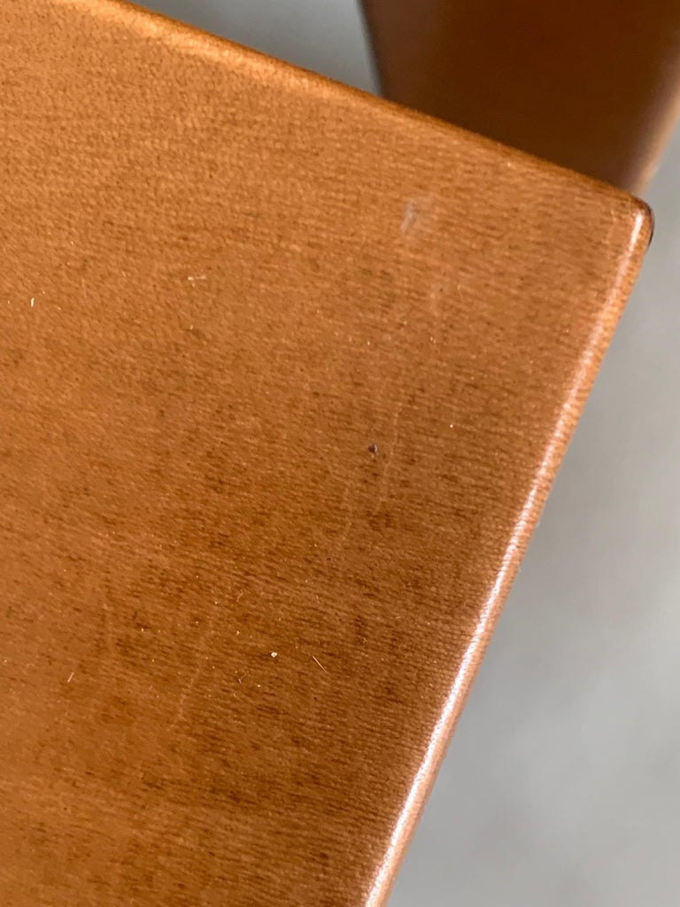 Pair of Parsons Leather Pedestal Tables For Sale 3