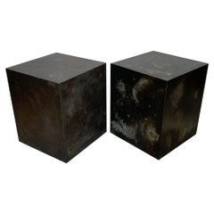 A Pair of Patinated Steel Cubes