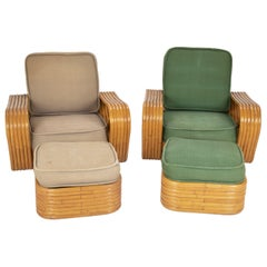 Pair of Paul Frankl Style Rattan Armchairs with Ottomans
