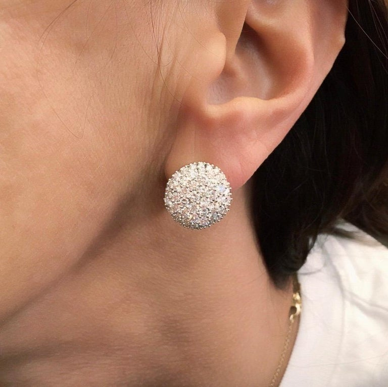 Women's or Men's Pair of Pave Diamond and Gold Earrings For Sale