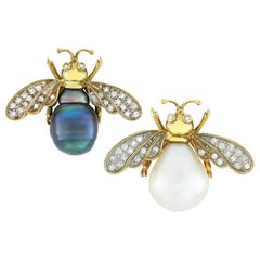 Pair of Pearl and Diamond Bee Brooches