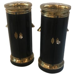Pair of Pedestal Plate Warmer Cabinets