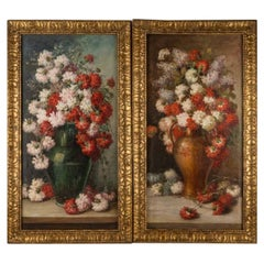 Pair of Pendant Flower Paintings Oil on Canvas, Late 19th Century