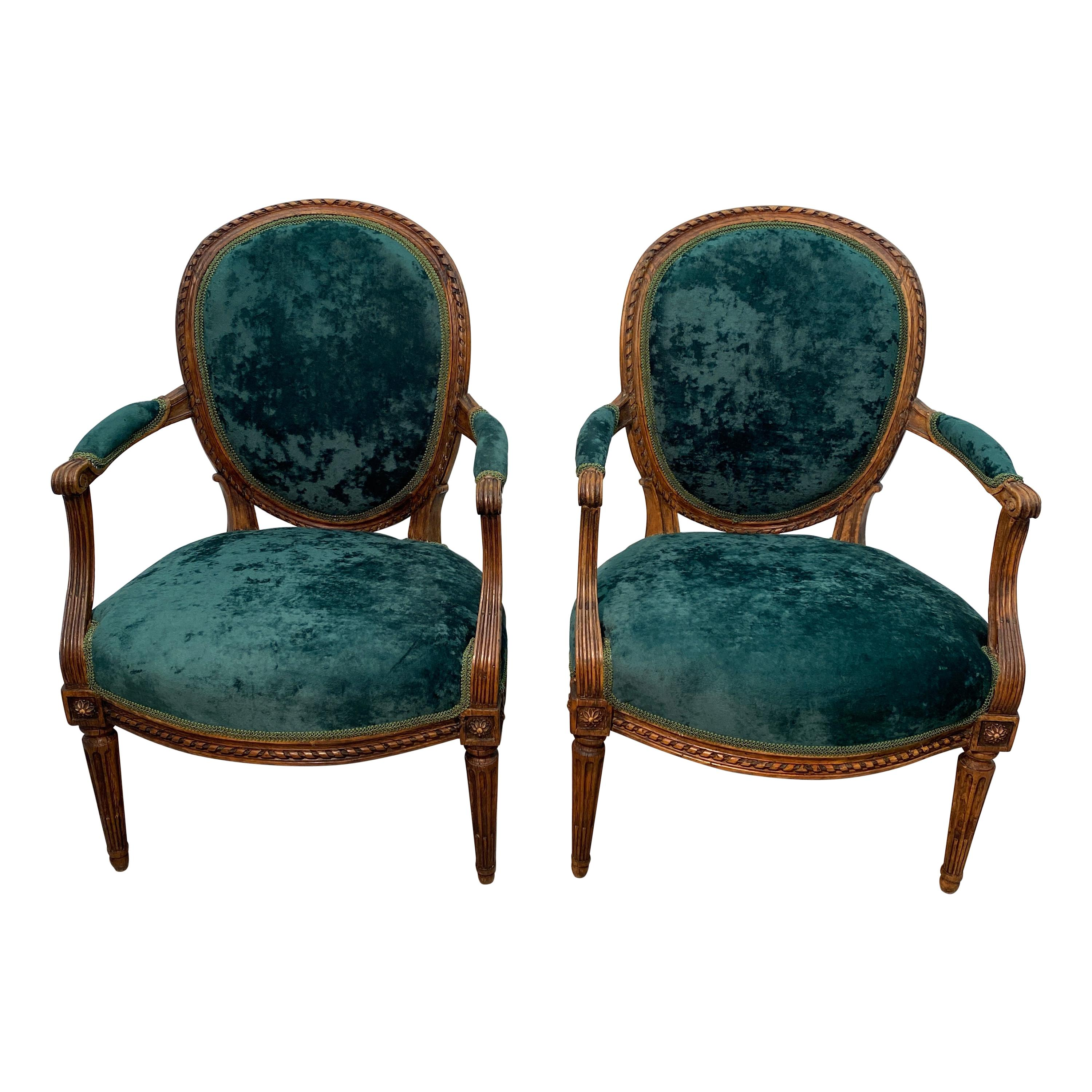Pair of Period 18th Century French Louis XVI Walnut Fauteuil Arm Chairs
