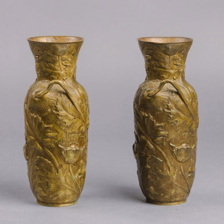 A Pair of Petite Art Nouveau Gilt-Bronze Vases, by Alexandre Vibert, Cast by Colin et Cie.  Signed to the body 'Alexandre Vibert' and with the foundry mark for 'Colin, Fondeur'.  Each vase is of baluster form decorated overall with stylised