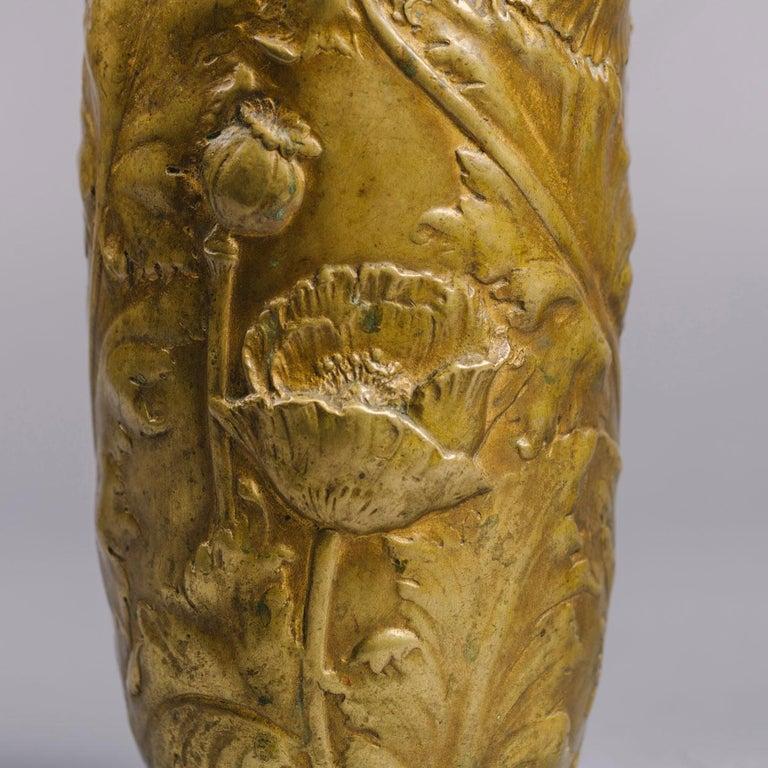 French A Pair of Petite Art Nouveau Gilt-Bronze Vases by Alexandre Vibert For Sale