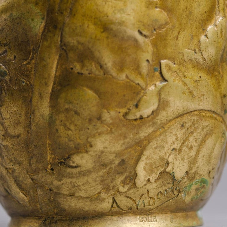 A Pair of Petite Art Nouveau Gilt-Bronze Vases by Alexandre Vibert In Good Condition For Sale In London, GB