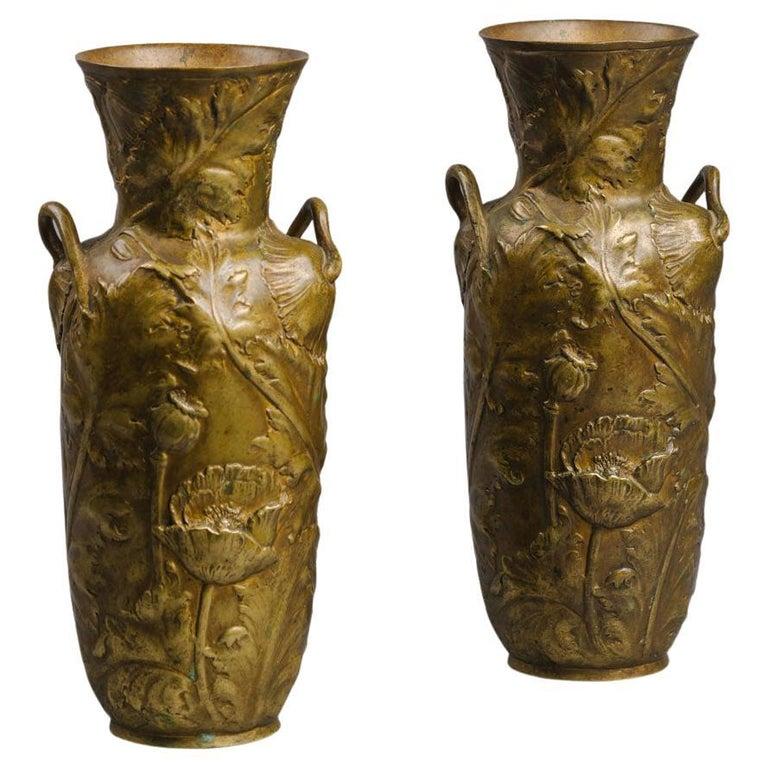 A Pair of Petite Art Nouveau Gilt-Bronze Vases by Alexandre Vibert For Sale