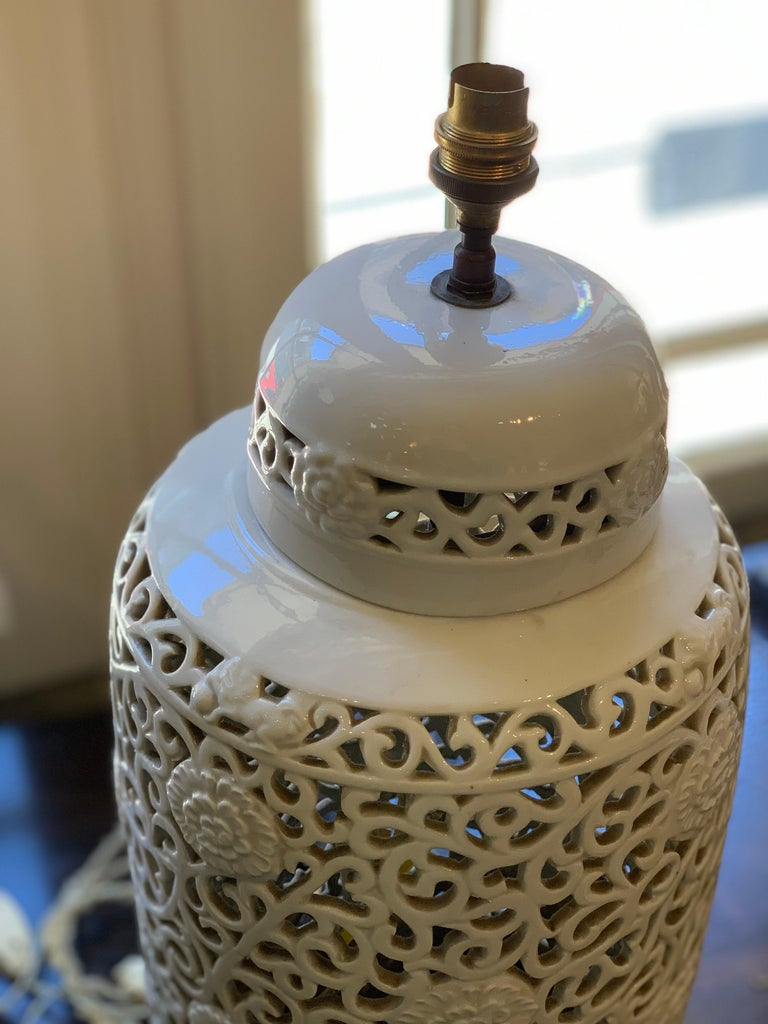 Pair of Pierced Enamel Lamp Bases In Excellent Condition For Sale In New Orleans, LA