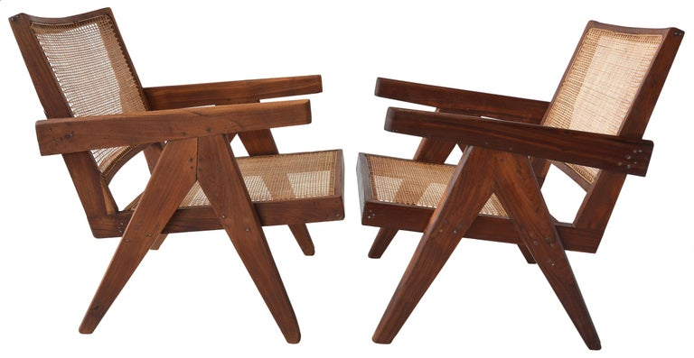 Mid-Century Modern Pair of Pierre Jeanneret Low Chairs For Sale