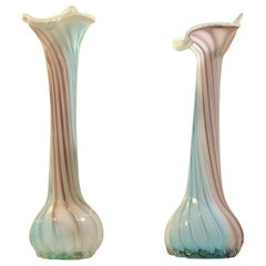 Pair of Pink, Blue and White Italian Jack in the Pulpit Glass Vases