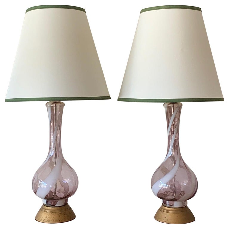 Pair of Pink Murano Glass Lamps For Sale