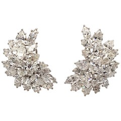 A Pair of Platinum and Diamond Earrings.