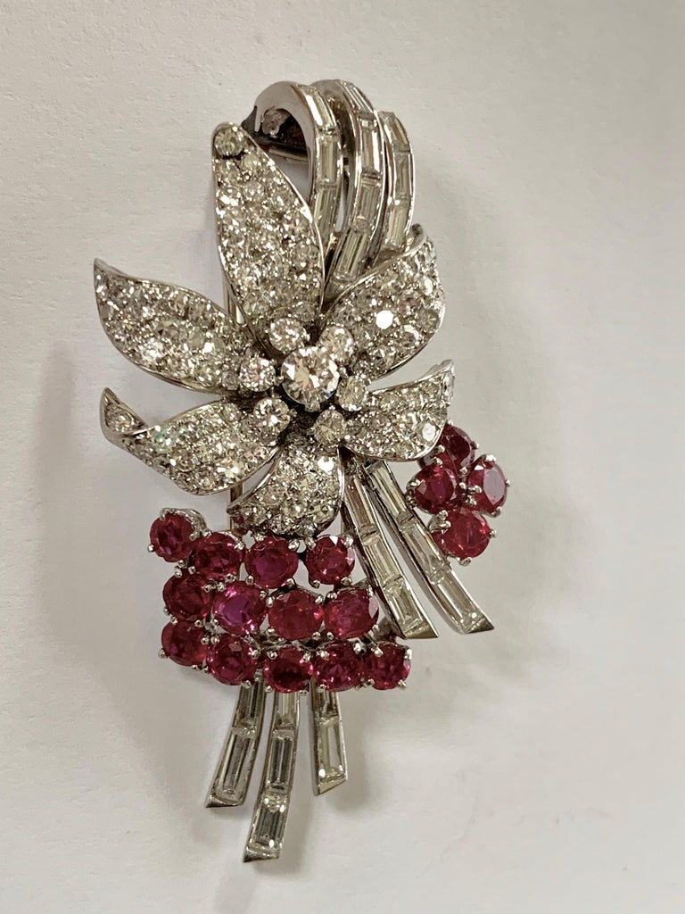 Retro Pair of Platinum Diamond and Ruby Clip Brooches, circa 1950 For Sale