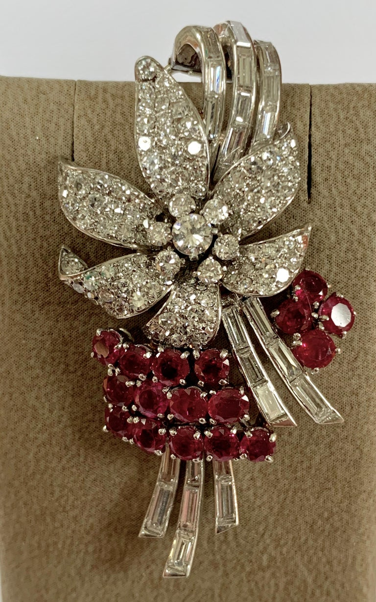 Old European Cut Pair of Platinum Diamond and Ruby Clip Brooches, circa 1950 For Sale
