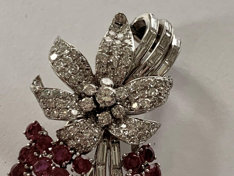 Pair of Platinum Diamond and Ruby Clip Brooches, circa 1950 For Sale 1