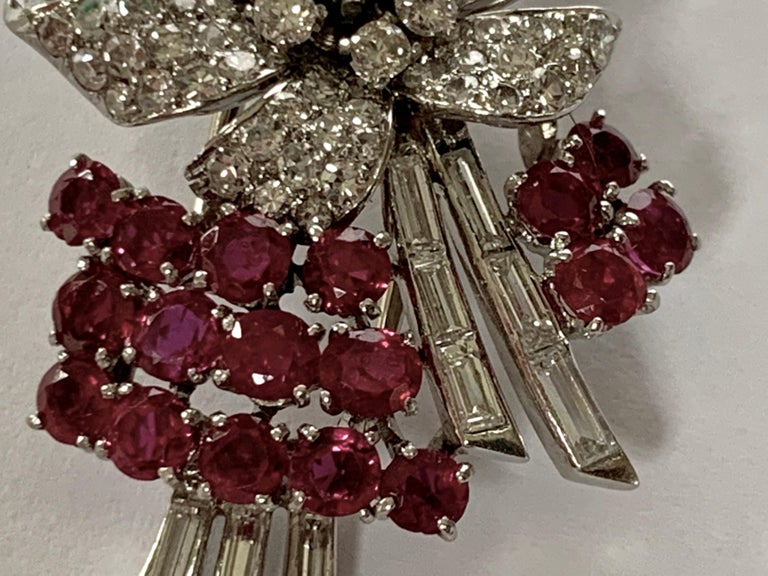 Pair of Platinum Diamond and Ruby Clip Brooches, circa 1950 For Sale 2