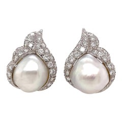 Pair of Platinum, White Gold, Diamond and Baroque Pearl Earrings