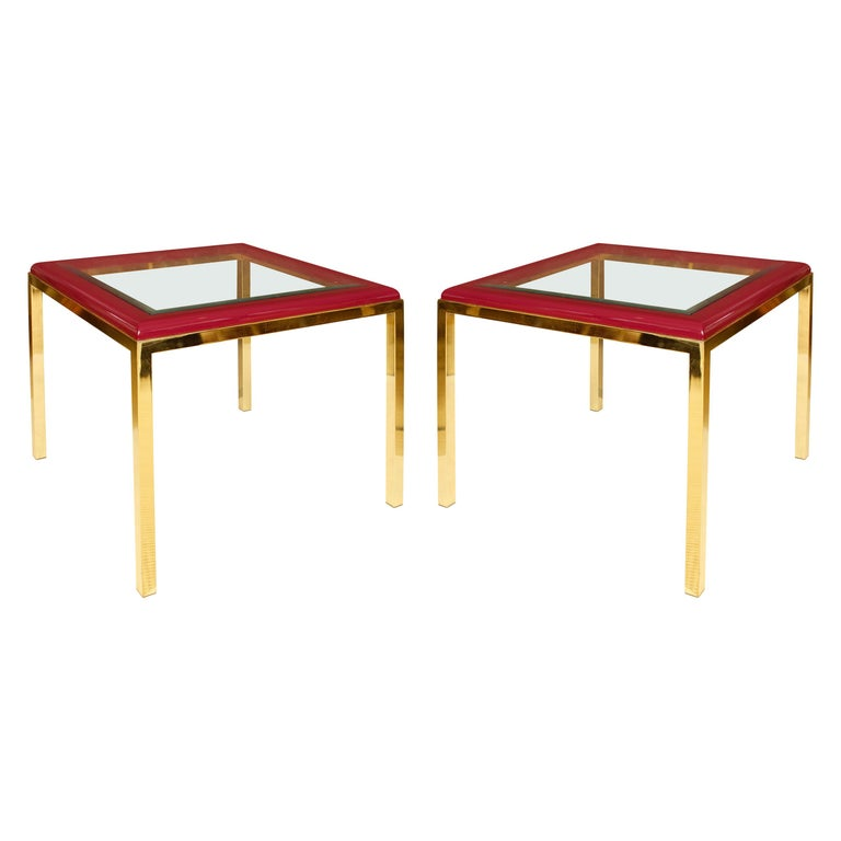 Pair of Plum Leather, Brass and Glass Midcentury Tables For Sale