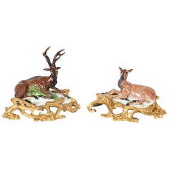 Pair of Porcelain Figures of a Stag and Doe by Samon & Cie., circa 1890