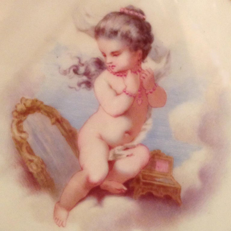 Painted Pair of Porcelain Plates Depicting Putto at Play by Minton, Dated 1881 For Sale