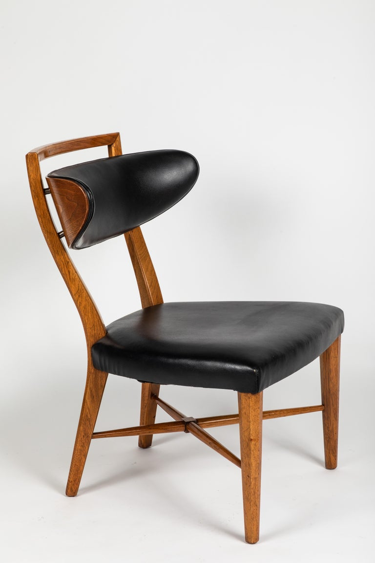 Faux Leather Pair of Pull Up Chairs For Sale