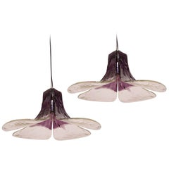 A pair of Purple Pendant Lamps Model LS185 by Carlo Nason for Mazzega, Kelly