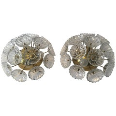"Pair of ""Pusteblume"" Blowball Flower Glass Sputnik Flush Mount/Sconces"