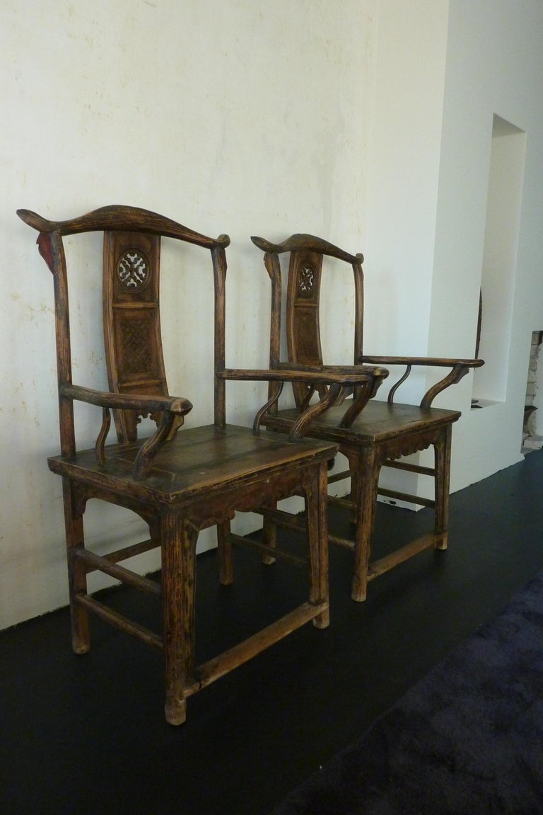 Chinese A Pair of Qing Dynasty Hand Carved Wooden Chairs For Sale
