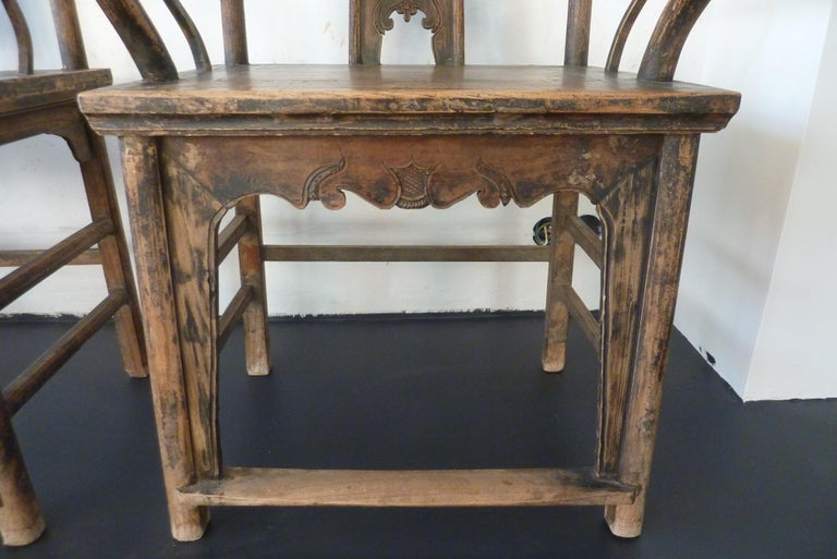 19th Century A Pair of Qing Dynasty Hand Carved Wooden Chairs For Sale