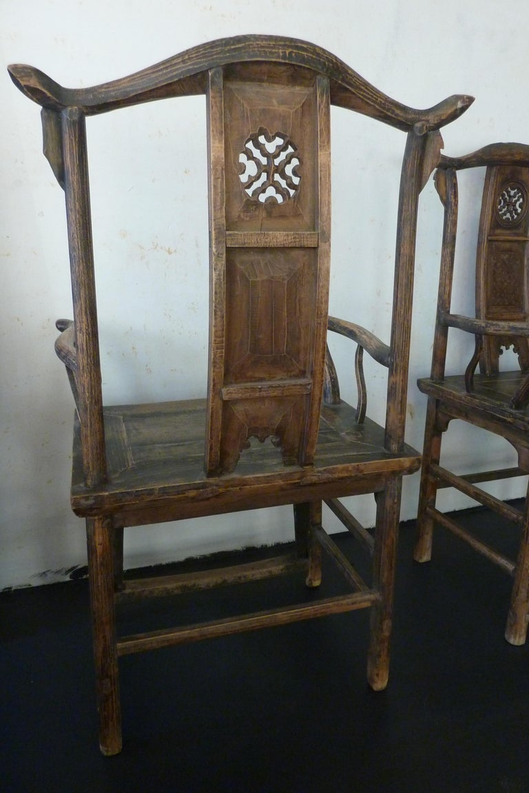 A Pair of Qing Dynasty Hand Carved Wooden Chairs For Sale 1