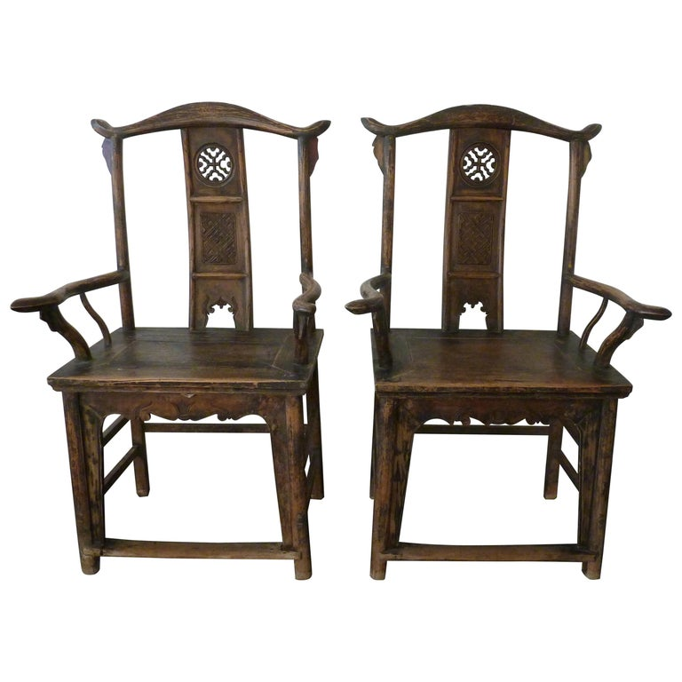 A Pair of Qing Dynasty Hand Carved Wooden Chairs For Sale