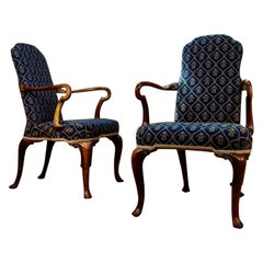 Pair of Queen Anne Upholstered Open Armchairs, Shepherd Crook Arms