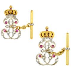 Pair of Queen Elizabeth of Romania Presentation Cufflinks
