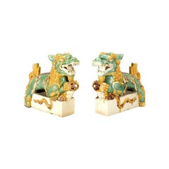 A Pair Of Rare And Fine Ceramic San-sai Glazed Dragons