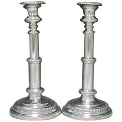 Pair of Rare Antique Silver Telescopic Candlesticks