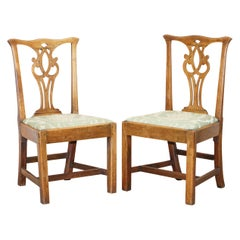 Pair of Rare circa 1780 Chippendale Burr Fruit Wood Chairs Stunning Timber