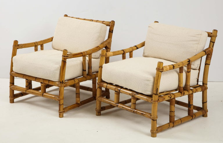 French Pair of Rattan Fauteuils For Sale