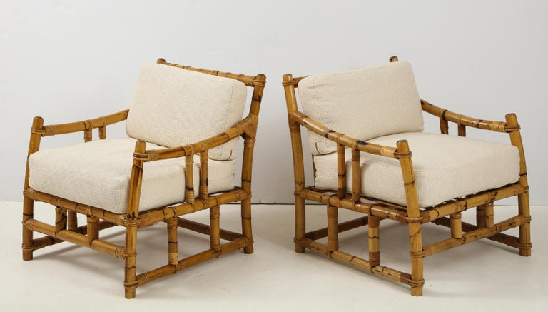 Pair of Rattan Fauteuils In Excellent Condition For Sale In New York, NY