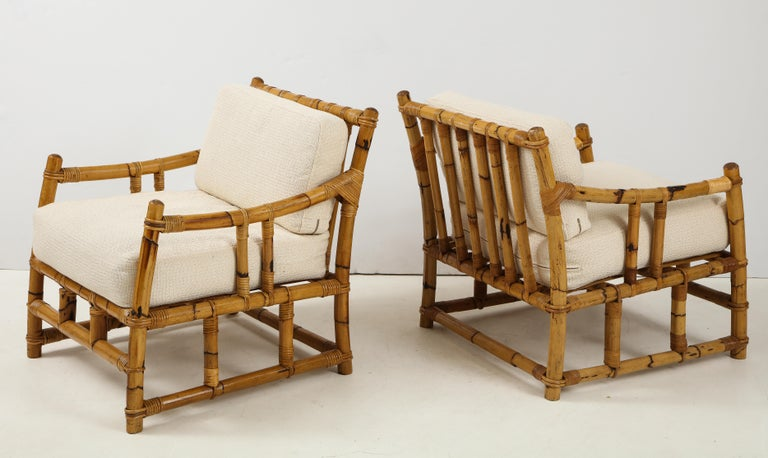 Late 20th Century Pair of Rattan Fauteuils For Sale