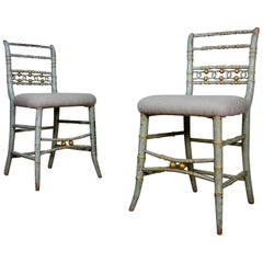 Pair of Regency 19th Century Faux Bamboo Original Painted Side Chairs