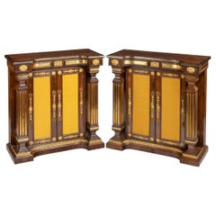 Pair of Regency Brass-Inlaid Rosewood Side Cabinets