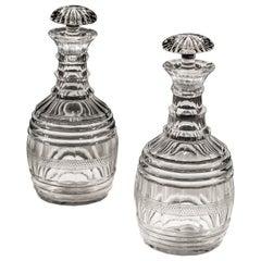 Pair of Regency Cut Glass Barrel Decanters