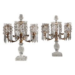 Pair of Regency Cut Glass Candelabra