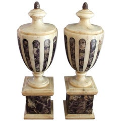 Pair of Regency Marble and Blue John Classical Urns circa 1820