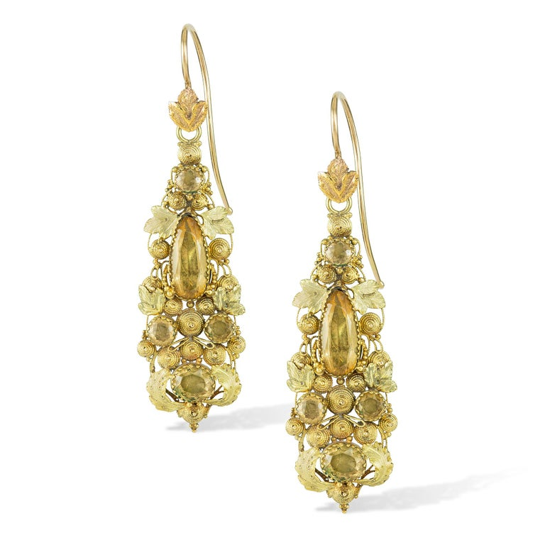 George III Pair of Regency Yellow Gold and Topaz Cannetille Earrings For Sale