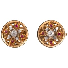 Pair of Retro Ruby Diamond 18 Karat Rose and White Gold Earrings