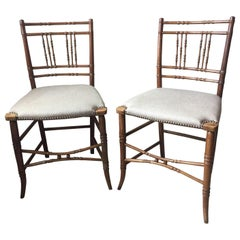 Pair of Reupholstered Regency Faux Bamboo Chairs