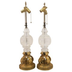 Pair of Rock Crystal and Ormolu Lamps