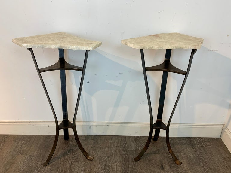 Modern Pair of Rock Crystal and Iron Pedestals For Sale